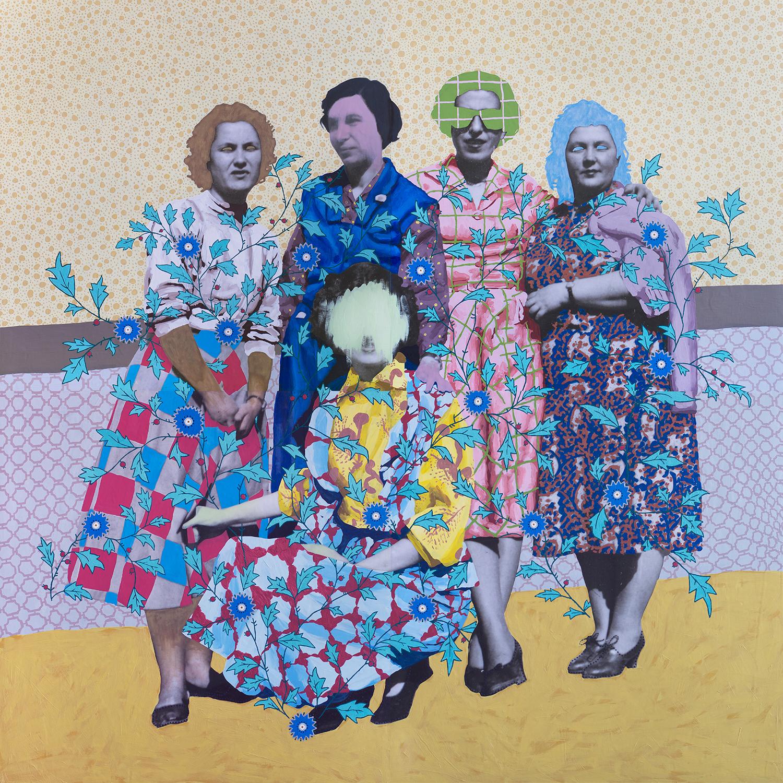 Sin título (Cinco mujeres estampadas), 2016.