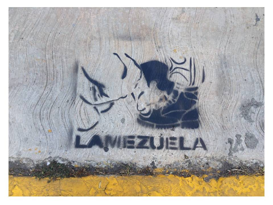 Imagen de Lamezuela impresa en las calles de Caracas.