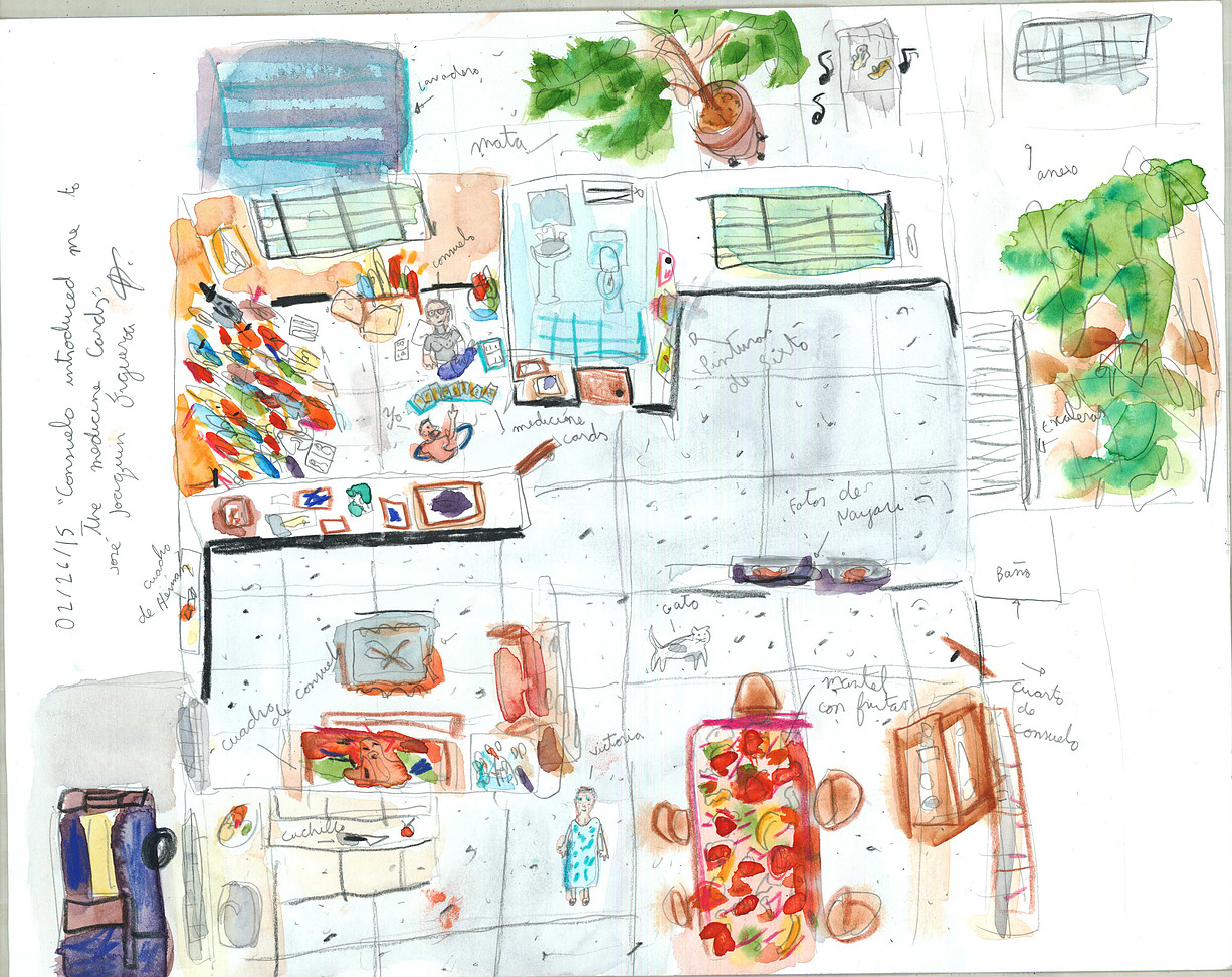 Serie de dibujos: Interviewing Mentors : Consuelo introduced me to medecine cards. Acuarela sobre papel. 2015.