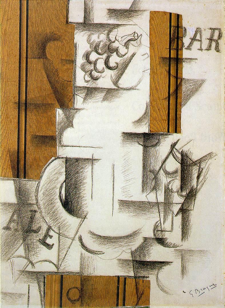 Georges Braque, Bodegón con frutero y vaso, 1912