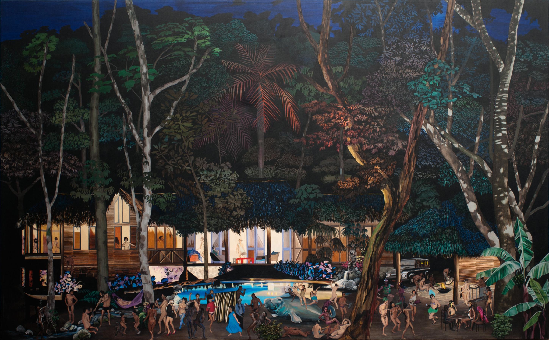 Hulda Guzmán, Fiesta en el batey, acrílico sobre lienzo, 2012.