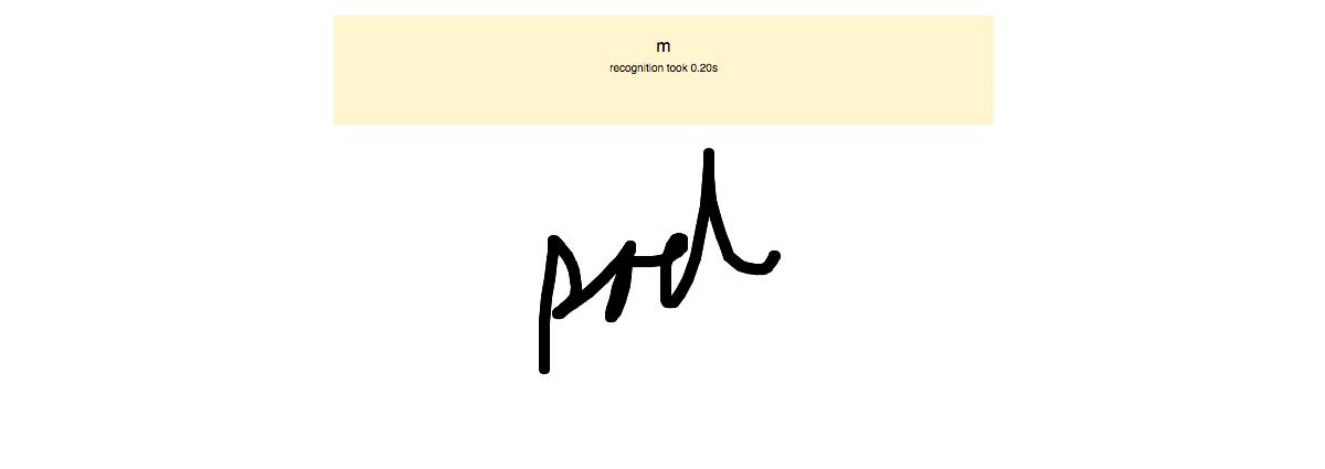 """En el caso de esta imagen, dibujé un garabato que fue reconocido como la letra """"m""""."""