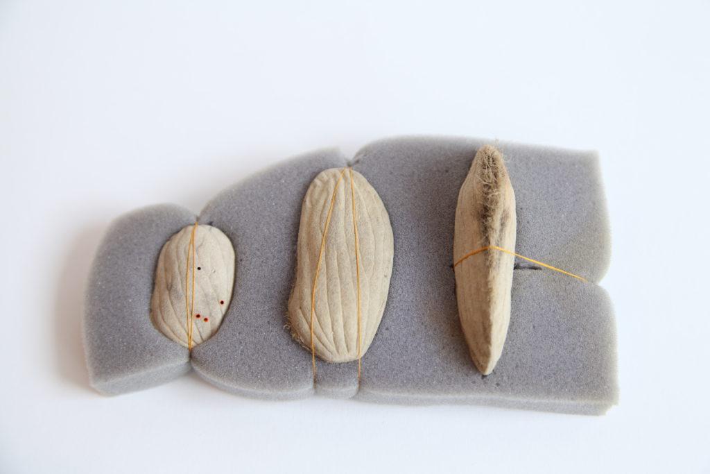 INTENTO DE VIDA | Semillas de mango, goma espuma y seda. 15x10x4cm. 2013